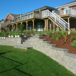 Two level back yard retaining wall