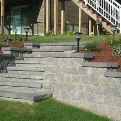 Steps incorporated into retaining wall