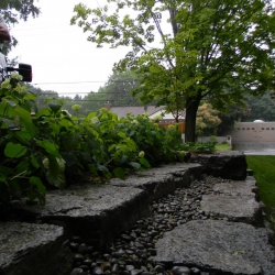 Limestone with river stone retaining wall