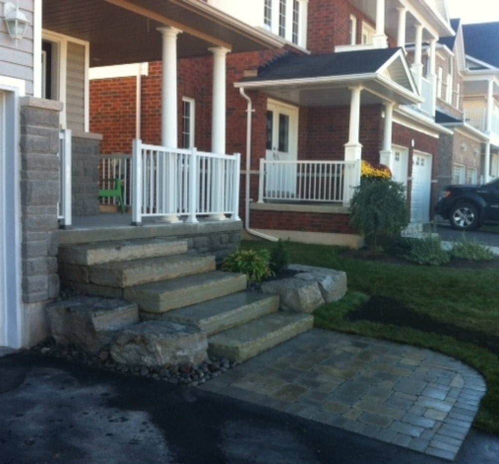 Armour Stone steps with landing and planter wall