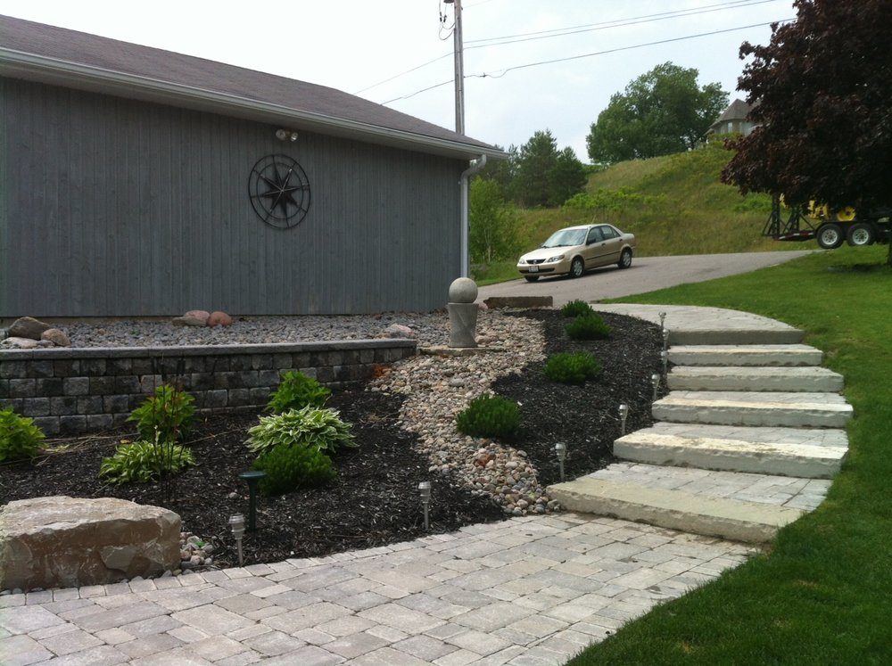 Natural Stone steps with walkway and garden